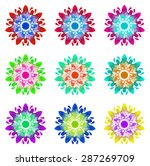 set of nine abstract flowers of ...