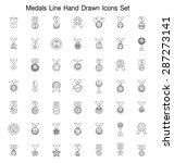 medals line hand drawn icon set | Shutterstock .eps vector #287273141