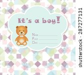baby boy arrival card. baby... | Shutterstock .eps vector #287277131