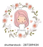 cute small princess. childish... | Shutterstock .eps vector #287289434