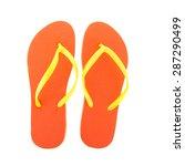 orange flipflops for the summer ... | Shutterstock . vector #287290499