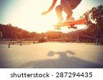 skateboarder legs riding... | Shutterstock . vector #287294435
