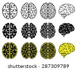 set of human brains. vector...
