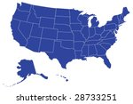 map of usa with separable... | Shutterstock .eps vector #28733251