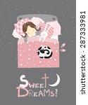little girl sleeping with cat.... | Shutterstock .eps vector #287333981