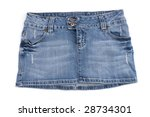Blue denim mini skirt isolated on white background - stock photo