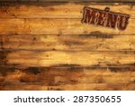 plate menu nailed to a wooden... | Shutterstock . vector #287350655