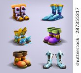 set of cartoon boots. vector...