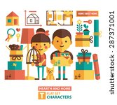 vector set of characters and... | Shutterstock .eps vector #287371001