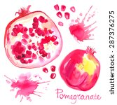 pomegranate painted with... | Shutterstock .eps vector #287376275