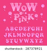 pink jelly alphabet. glossy... | Shutterstock .eps vector #287378921