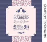 vector wedding card or... | Shutterstock .eps vector #287382134