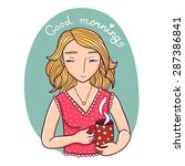 morning girl illustration. | Shutterstock .eps vector #287386841
