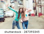 hipster girlfriends posing and... | Shutterstock . vector #287393345