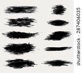 vector ink brush strokes set | Shutterstock .eps vector #287406035