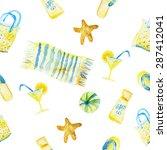 vector watercolor summer... | Shutterstock .eps vector #287412041