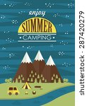 summer camp card design. vector ... | Shutterstock .eps vector #287420279