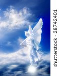 white angel over blue cloudy sky - stock photo