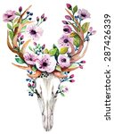 Bright Watercolor Vector Deer...