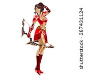 the girl archer in a red suit...   Shutterstock .eps vector #287431124