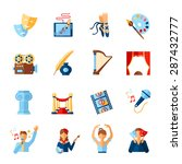 art and culture icons set with...