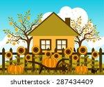 vector pumpkins and sunflowers... | Shutterstock .eps vector #287434409