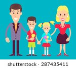happy family  mom  dad  son and ... | Shutterstock .eps vector #287435411