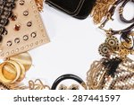 woman shiny accessories grouped ... | Shutterstock . vector #287441597