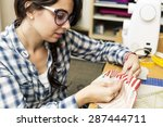 young girl making hand bags and ...   Shutterstock . vector #287444711