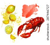 watercolor lobster with lemon.  ... | Shutterstock .eps vector #287446727
