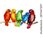 parrot on a branch. watercolor... | Shutterstock .eps vector #287447207