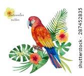watercolor parrot  exotic... | Shutterstock .eps vector #287452835