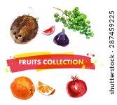 vector set of watercolor fruits ... | Shutterstock .eps vector #287459225