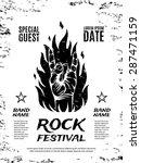 grunge  rock festival poster ... | Shutterstock .eps vector #287471159