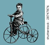 boy on retro bicycle. engraving ... | Shutterstock .eps vector #28747876