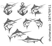 Set Of Marlin Fishing Design...