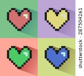 pixelated colorful hearts... | Shutterstock .eps vector #287504261