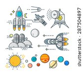 space line art icon set. cosmos ... | Shutterstock .eps vector #287504897