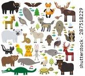 bison bat manatee fox elk horse ... | Shutterstock .eps vector #287518229