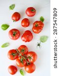 Fresh Tomatoes On White Wooden...