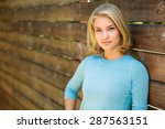 pretty blonde single woman... | Shutterstock . vector #287563151