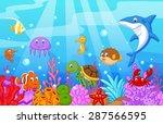 sea life cartoon with fish...