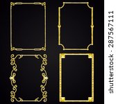 set of golden frames. metal. | Shutterstock . vector #287567111