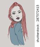 girl side illustration | Shutterstock .eps vector #287572415