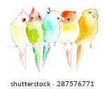watercolor parrots on branch ... | Shutterstock .eps vector #287576771
