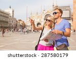 tourists in venice looking for... | Shutterstock . vector #287580179