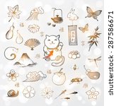 traditional japanese symbols of ... | Shutterstock .eps vector #287586671