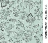 seamless pattern with herbs... | Shutterstock .eps vector #287588411