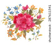 watercolor  flowers isolated on ... | Shutterstock . vector #287611541