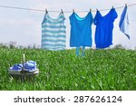 Laundry Line With Clothes In...